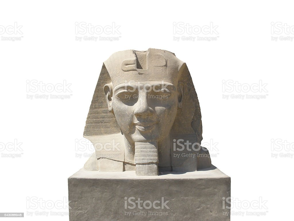 statue of Ramses 2 at Luxor temple (isolated) stock photo