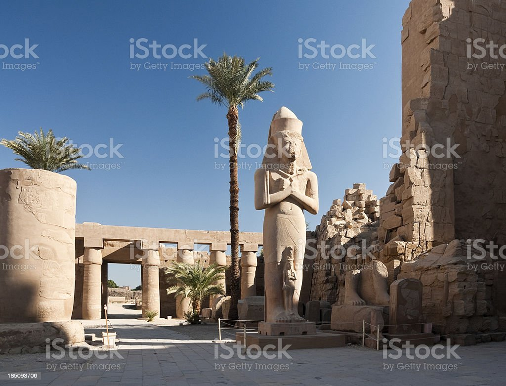 Statue of Ramses II and Nefertari at Karnak stock photo