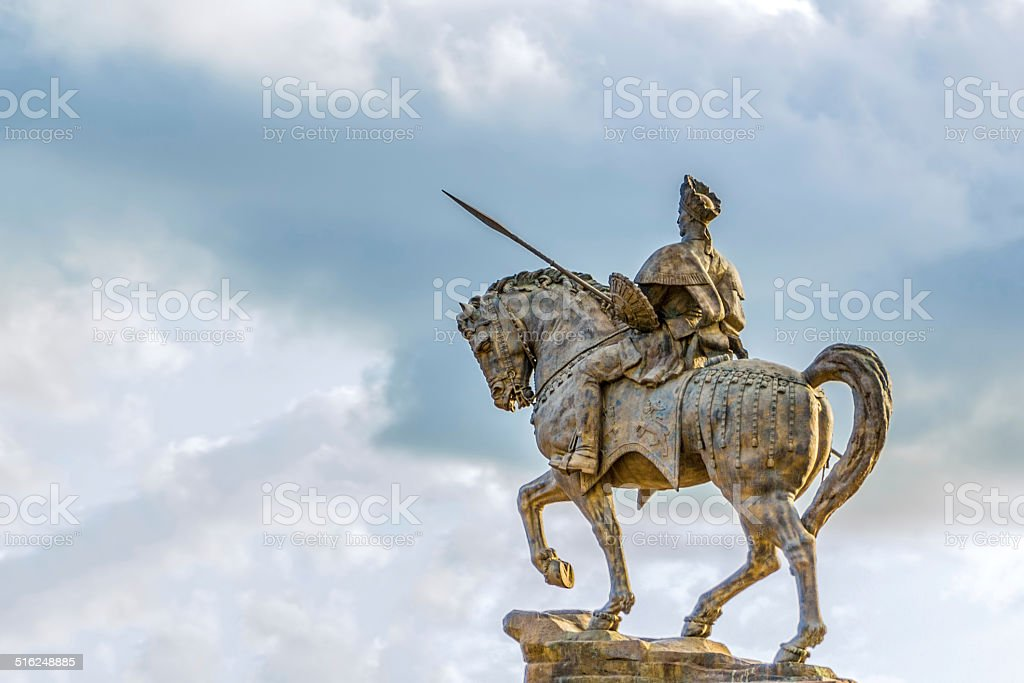 Statue of Ras Makonnen on a horse stock photo