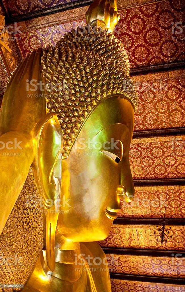 Statue of Reclining Buddha in Wat Pho in Bangkok, Thailand stock photo