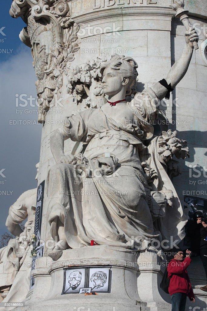 Statue of republic in Paris stock photo