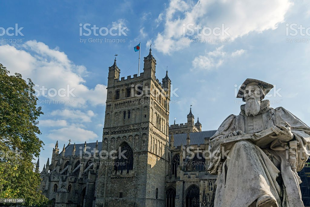 Statue of Richard Hooker At Exeter Cathedral Devon stock photo