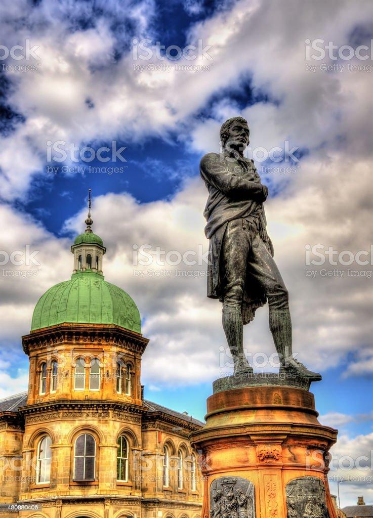 Statue of Robert Burns in Leith - Edinburgh, Scotland stock photo