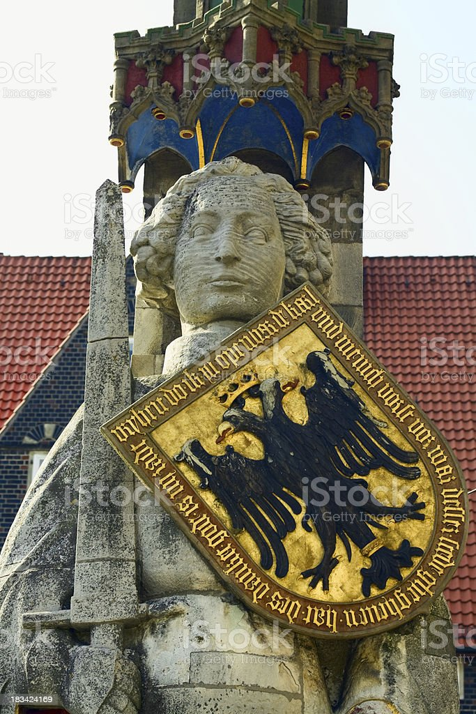 Statue of Roland in Bremen stock photo