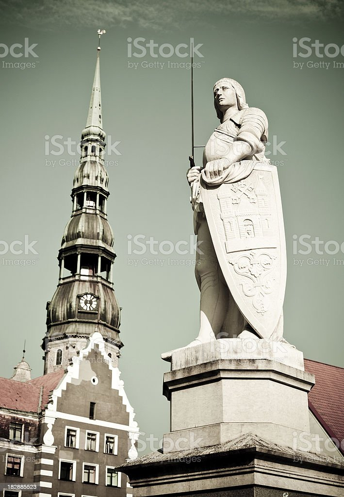 Statue Of Roland In Riga, Latvia stock photo