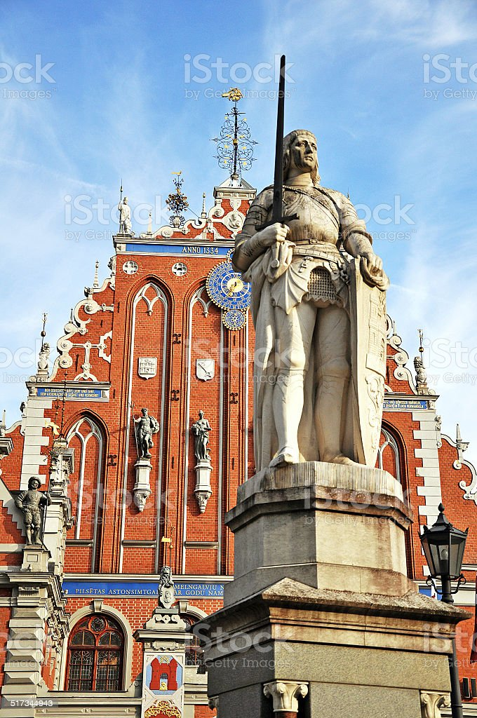 statue of Roland in Riga stock photo