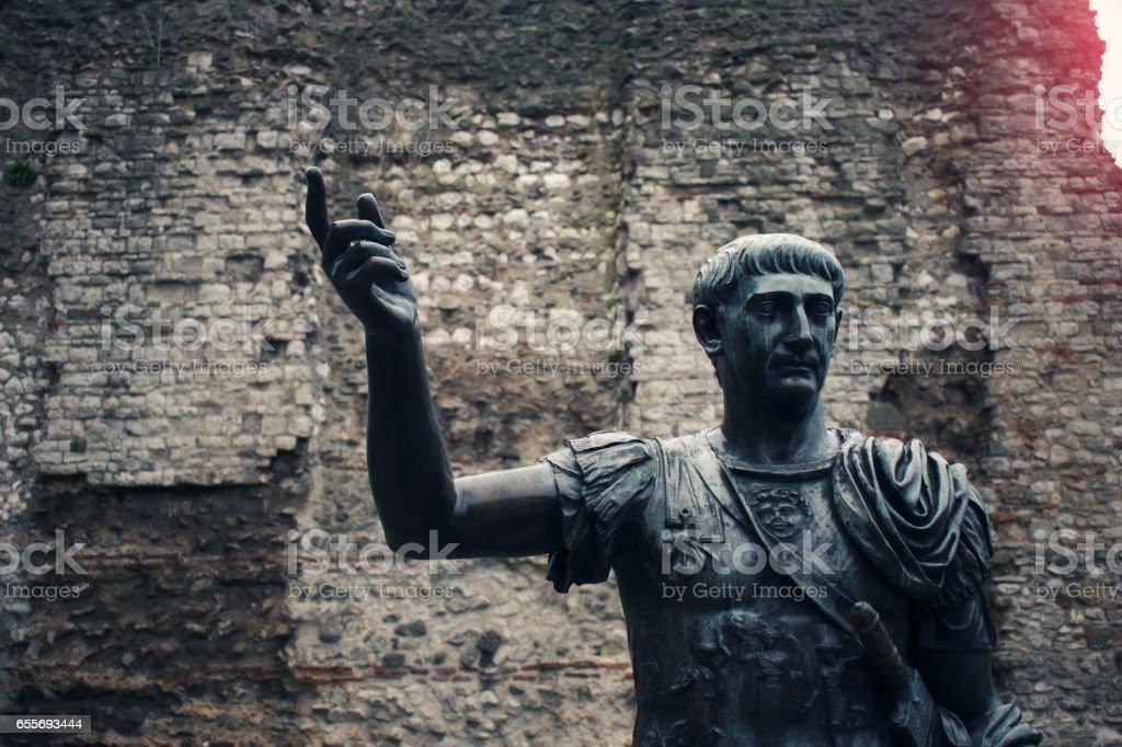 Statue of Roman Emperor Traian stock photo