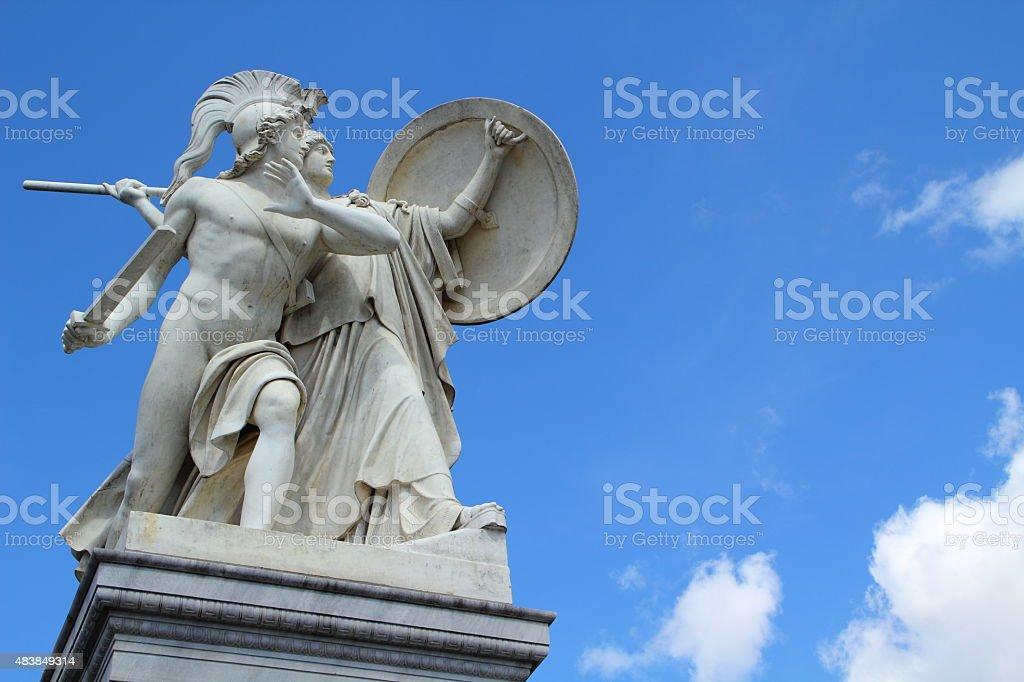 Statue of roman warriors in berlin stock photo