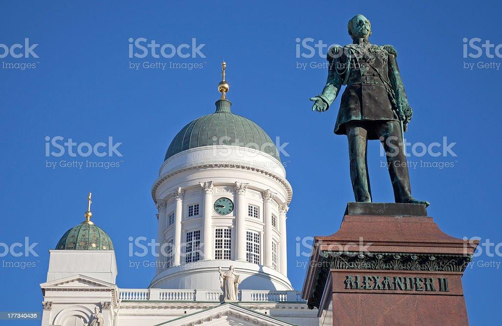 Statue of Russian czar Alexander II stock photo