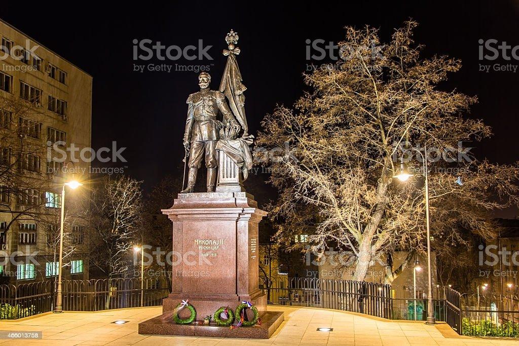 Statue of Russian tsar Nicholas II in Belgrade, Serbia stock photo