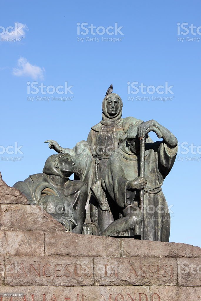 Statue of Saint Francis in Rome stock photo