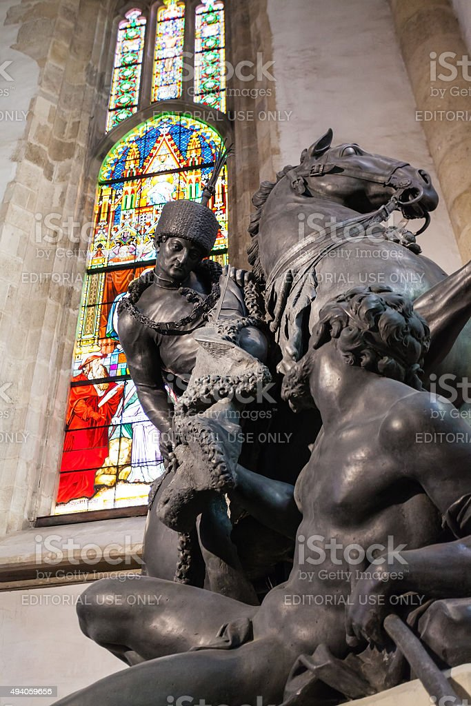 Statue of Saint Martin in St. Martin's Cathedral stock photo