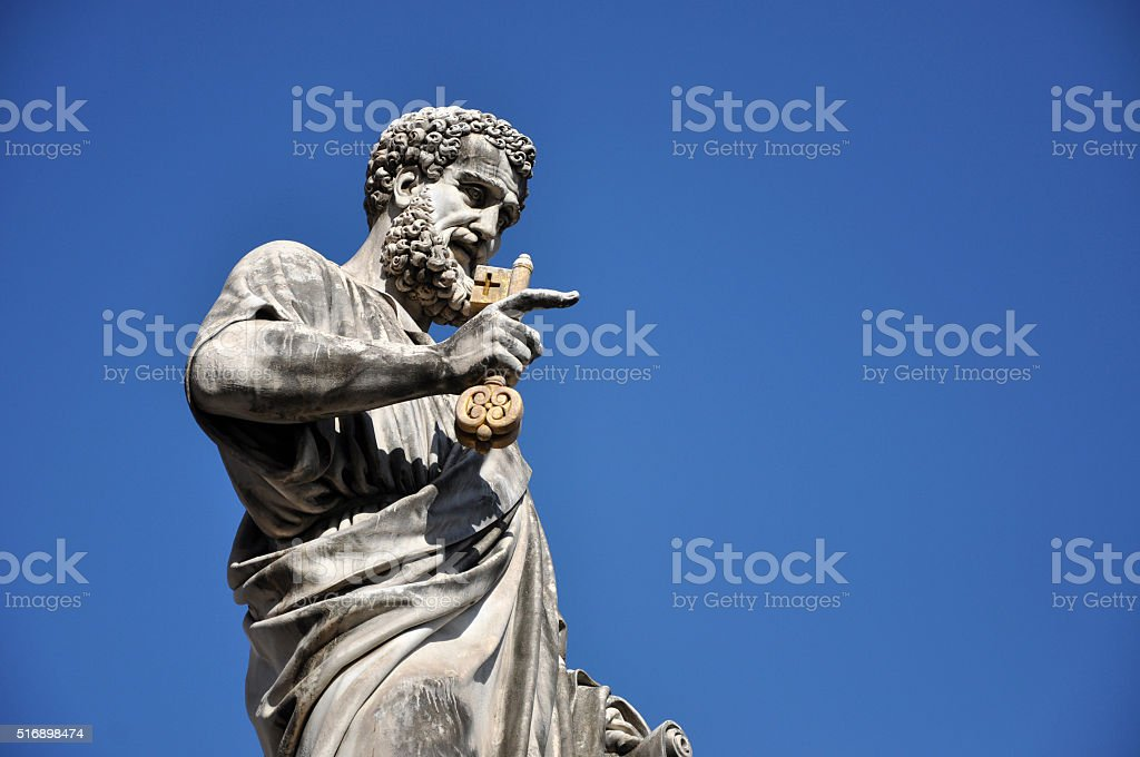 Statue of Saint Peter in Saint Peter square. Vatican city stock photo