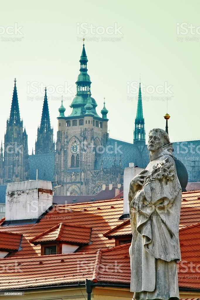 Statue of Saint Philip Benizi de Damiani on Charles bridge stock photo