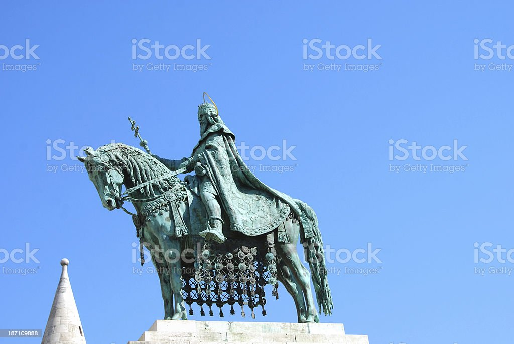 Statue of Saint Stephen I in Budapest stock photo