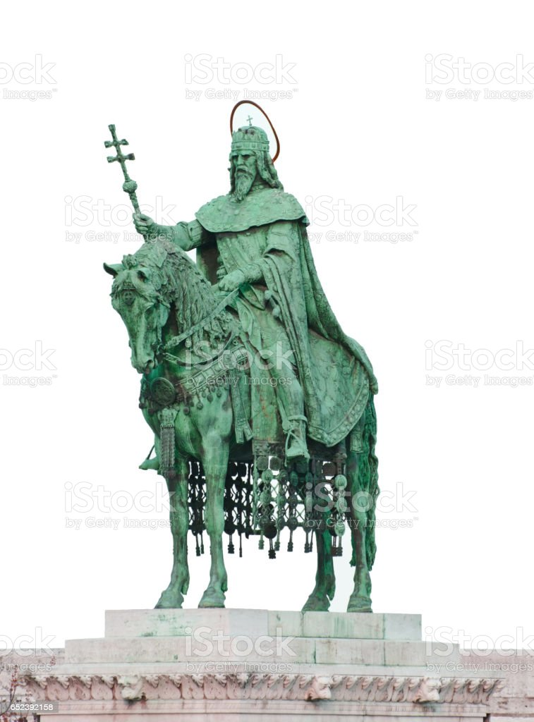 Statue of Saint Stephen I - the first king of Hungary isolated on white stock photo