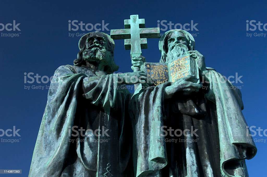 Statue of Saints Cyril and Methodius stock photo