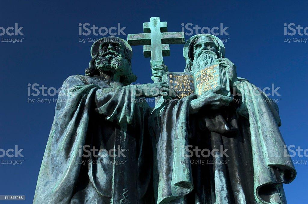 Statue of Saints Cyril and Methodius stock photo