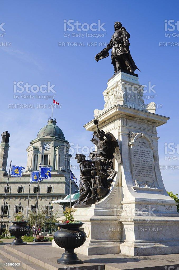 Statue of Samuel de Champlain in Quebec City, Canada stock photo