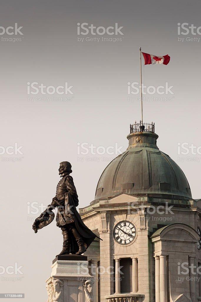 Statue of Samuel de Champlain in Quebec stock photo