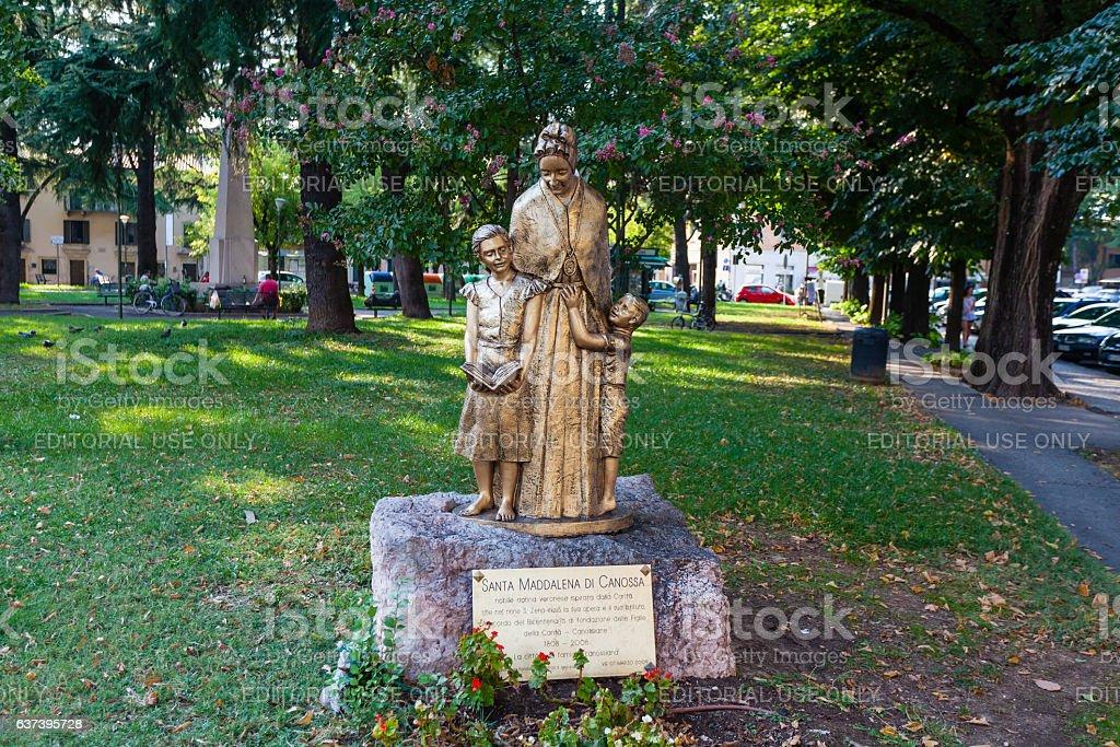 Statue of Santa Maddalena di Canossa in Verona. stock photo