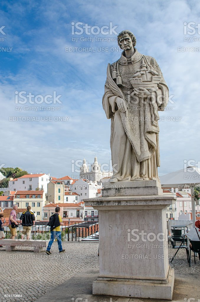 Statue of Sao Vincente with his church in background stock photo