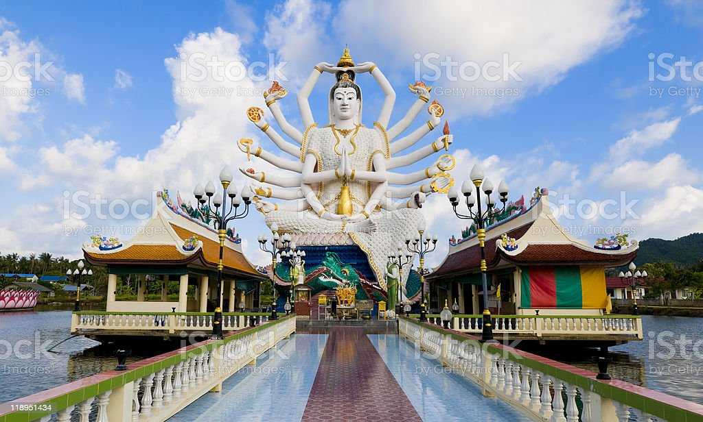 A statue of Shiva on the water in Koh Samui, Thailand stock photo