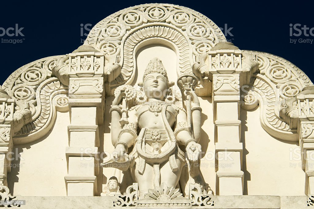Statue of Shiva with Ornament Architecture at Hindu Temple stock photo