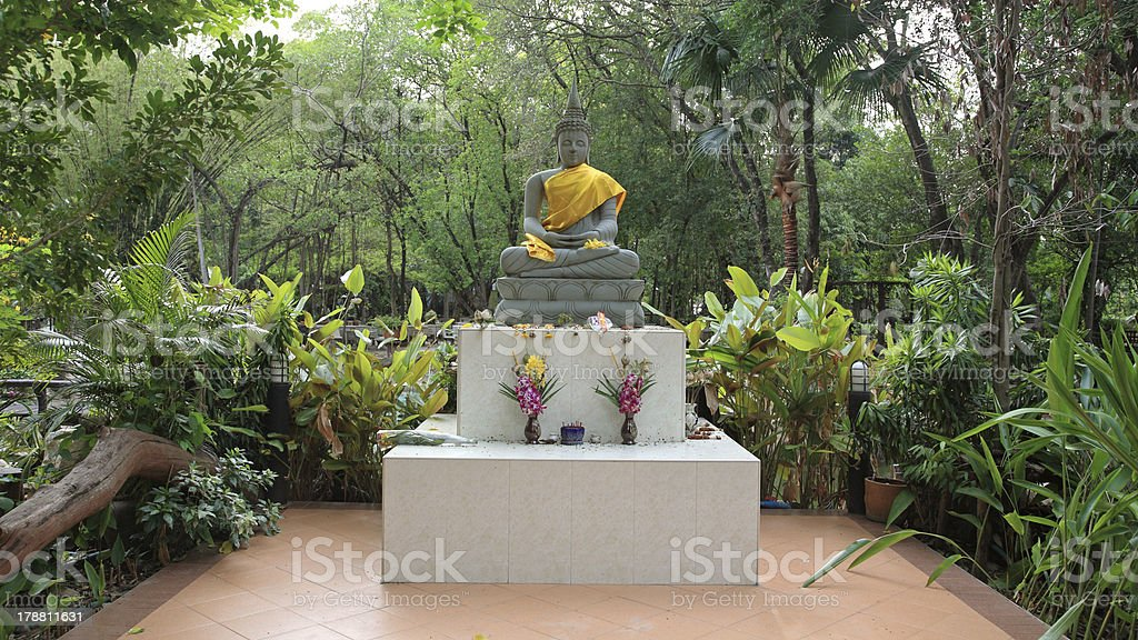 Statue of sitting Buddha stock photo
