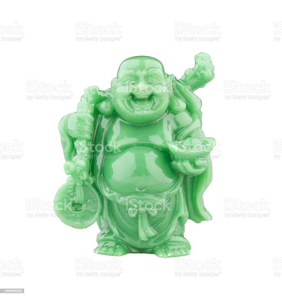 statue of smiling fat buddha with money stock photo
