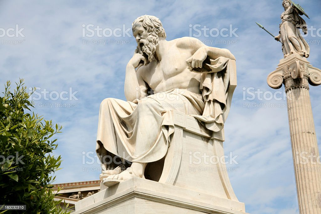 Statue of Socrates, the philosopher, with sky in distance stock photo