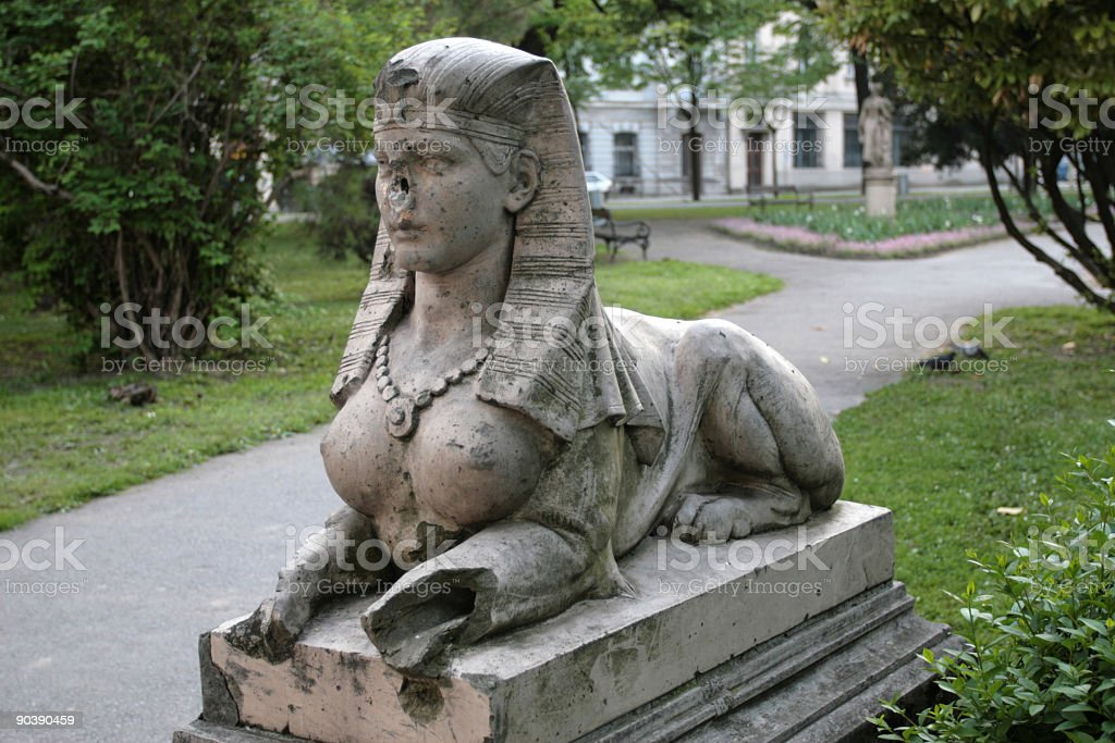 Statue of Sphinx stock photo