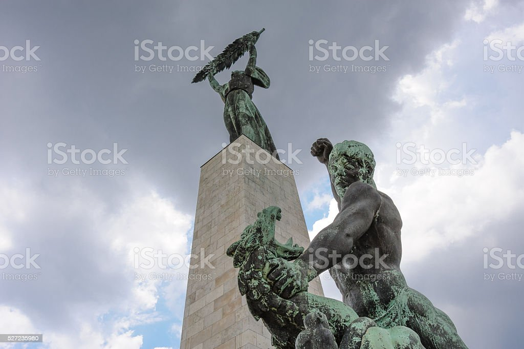 Statue of St. George defeating the dragon stock photo