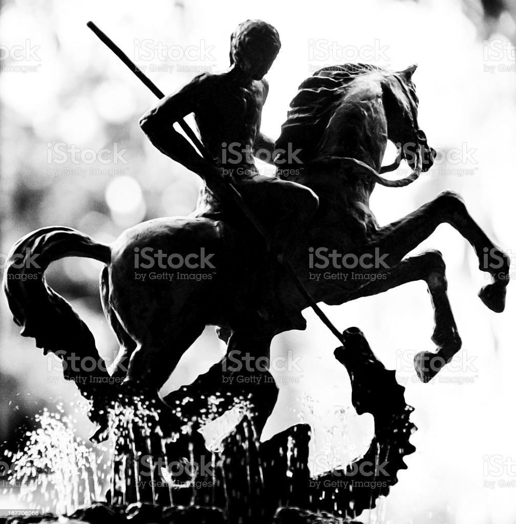 Statue of St George killing the dragon royalty-free stock photo