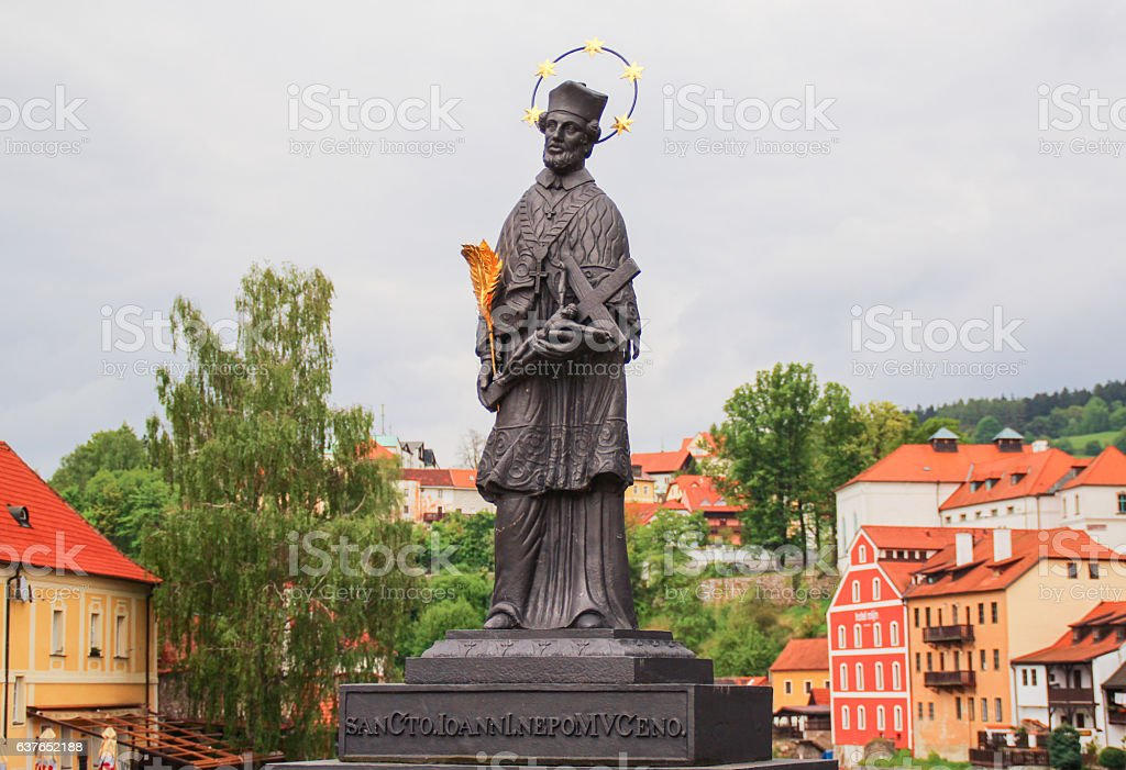 Statue of St. John Nepomuk in Cesky Krumlov stock photo