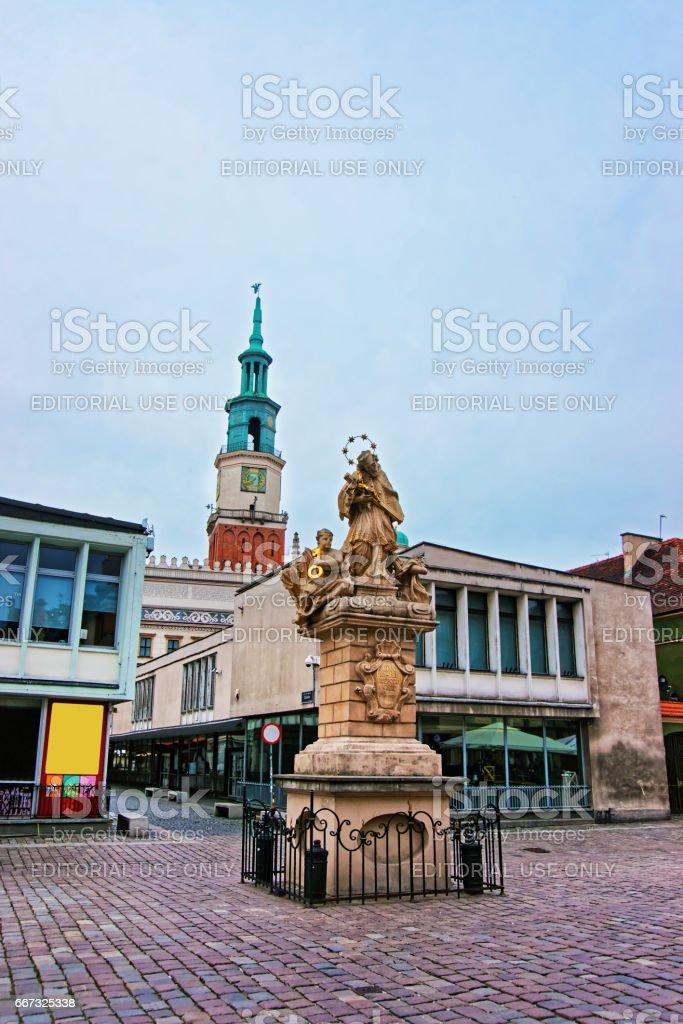 Statue of St John Nepomuk on Market Square in Poznan stock photo