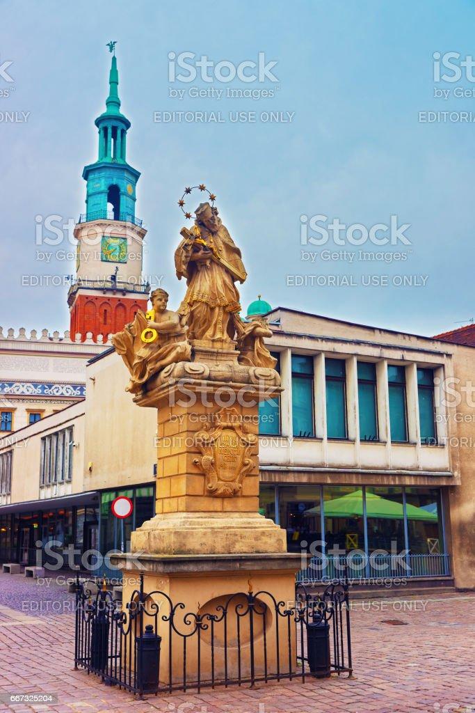 Statue of St John Nepomuk on Market Square of Poznan stock photo