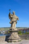 Statue of St John of Nepomuk in Wurzburg, Germany.
