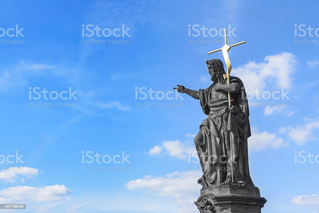 Statue of St. John the Baptist stock photo