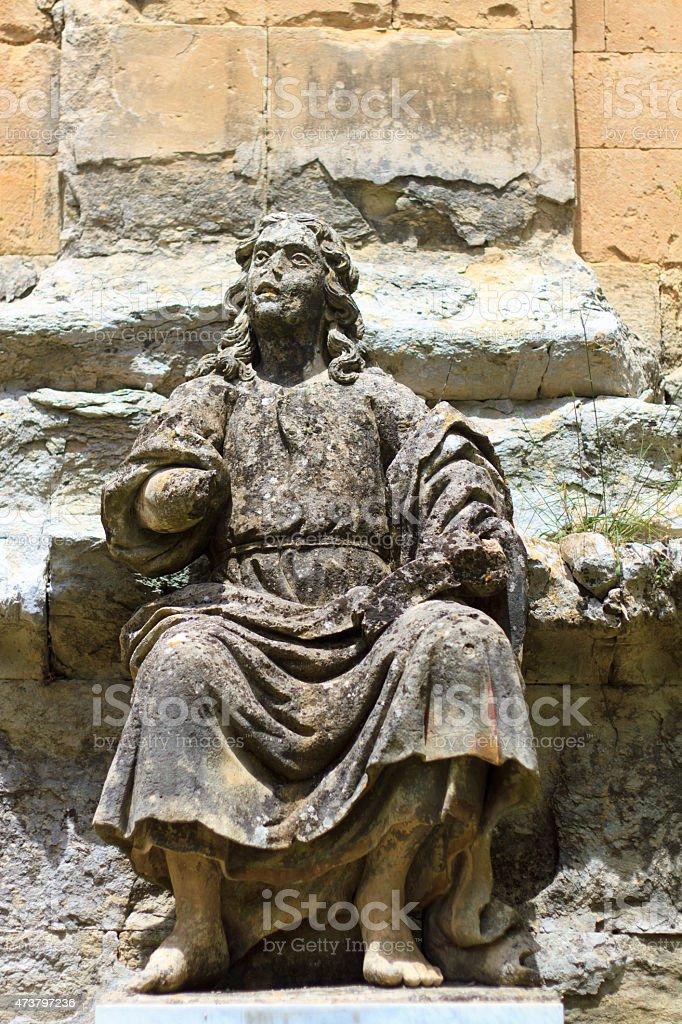 Statue of St John the Evangelist, Ragusa Ibla, Sicily stock photo