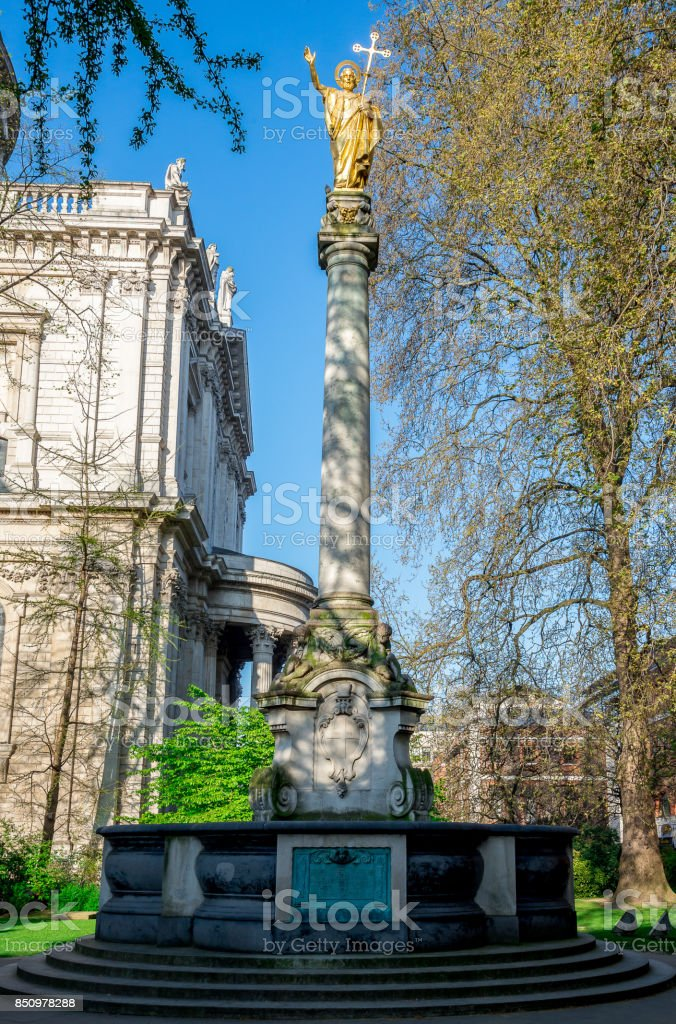 A statue of St Paul at churchyard in St Paul's Cathedral, central London, Great Britain stock photo