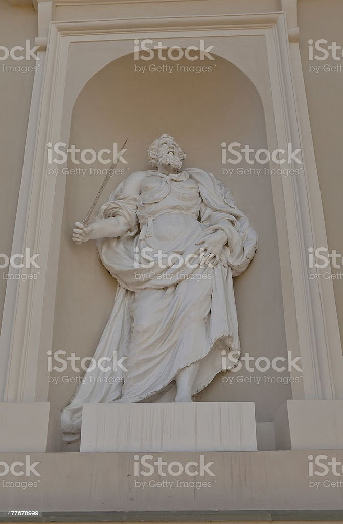 Statue of St. Paul ont. Stanislov Cathedral. Vilnius, Lithuania S royalty-free stock photo