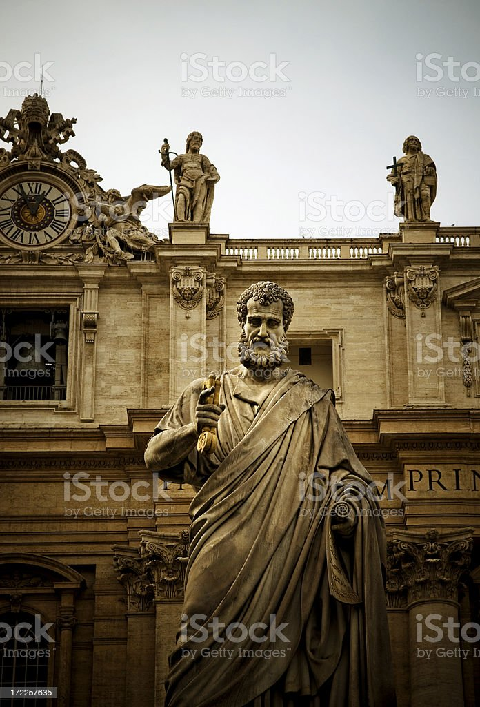 Statue of St. Peter stock photo