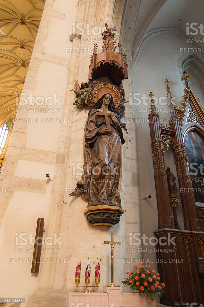 Statue of St. Rita  in the church of St. Catherine stock photo
