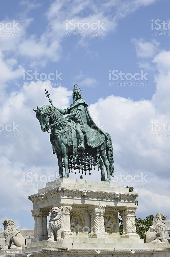 Statue of St. Stephen, Budapest, Hungary royalty-free stock photo
