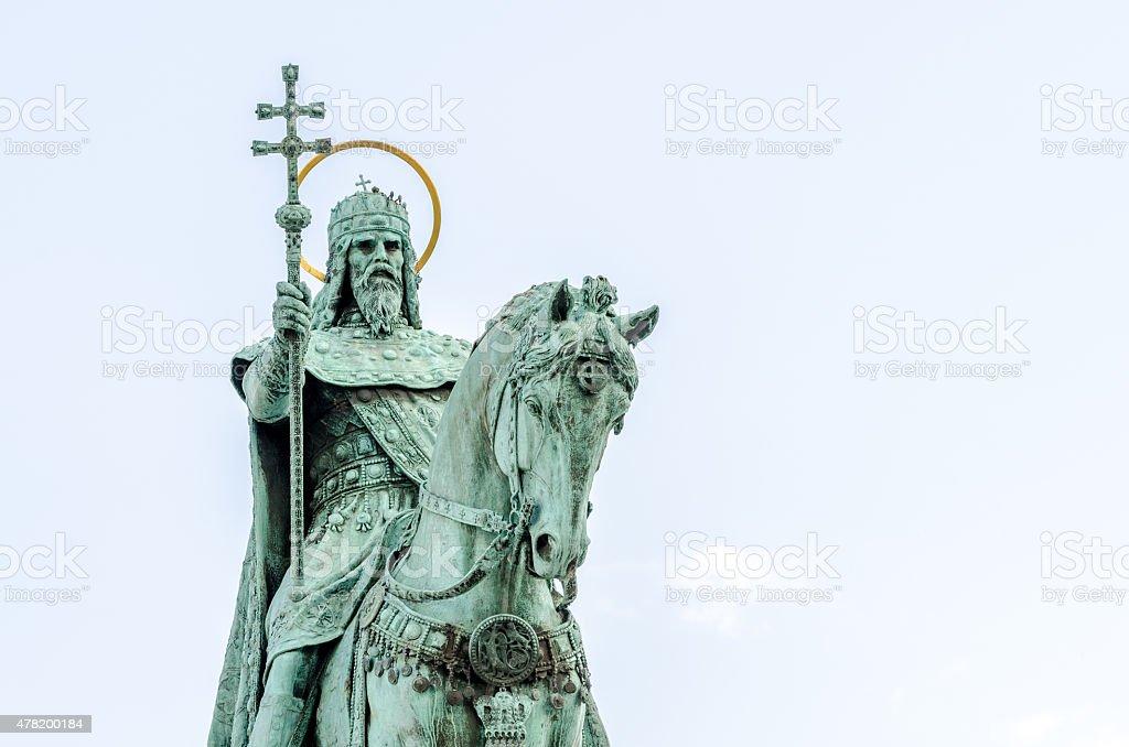 Statue of St Stephen on horseback, Budapest, Hungary stock photo
