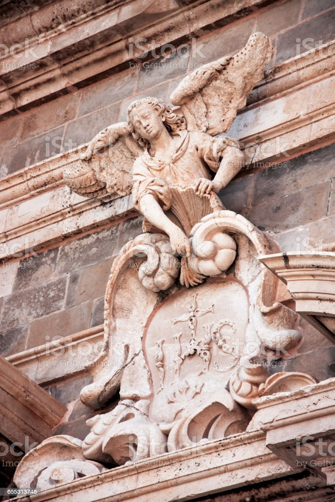 Statue of the angel, church of Saint Ignatius in Dubrovnik, Croatia. stock photo