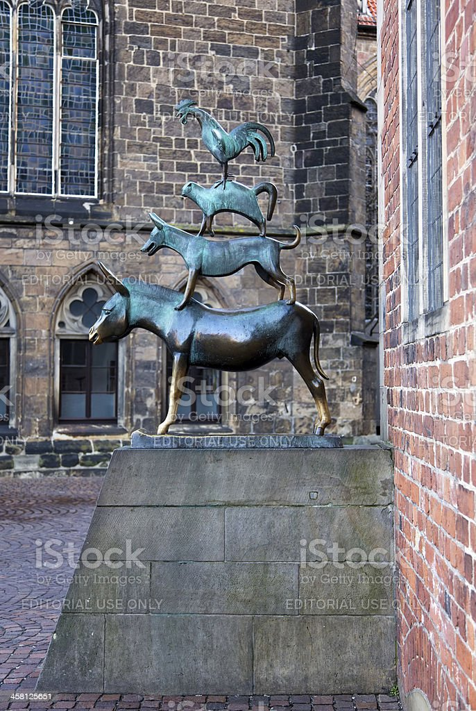 Statue of the Bremen Town Musicians stock photo