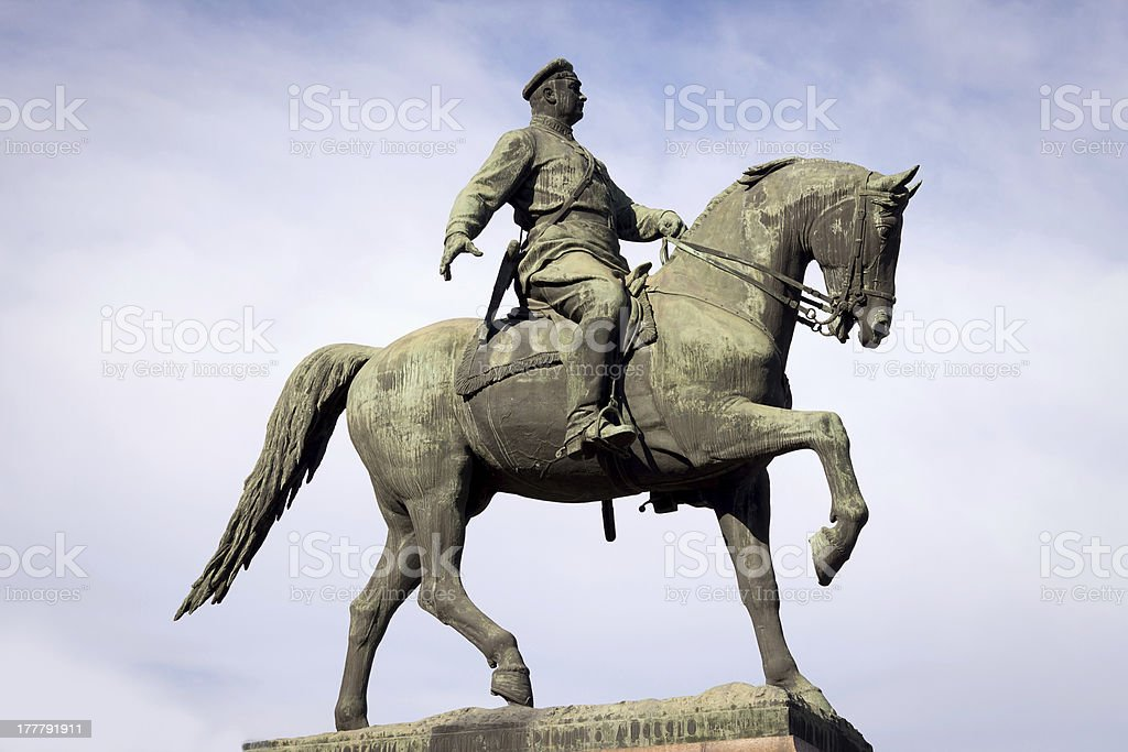 Statue of the bronze horseback rider stock photo