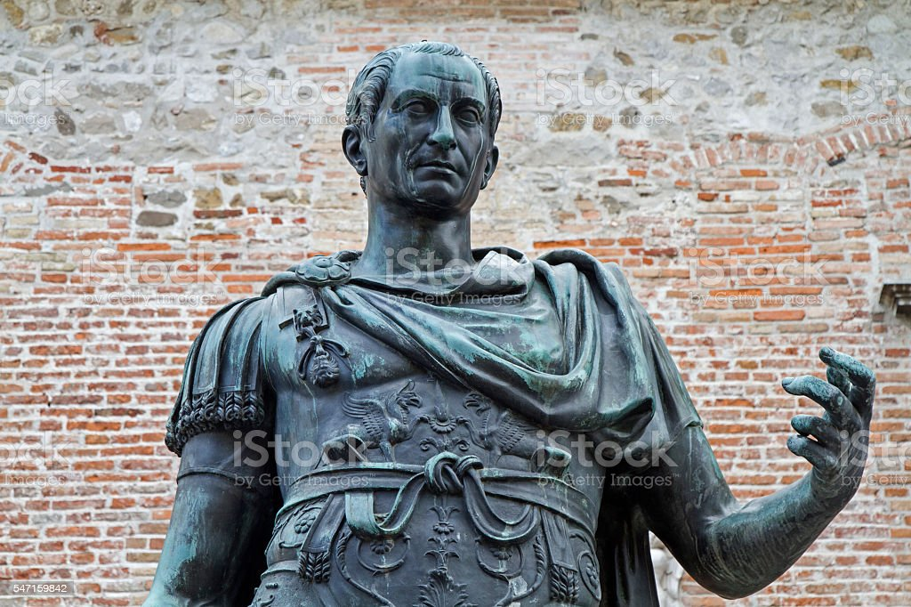 Statue of the city founder Julius Caesar stock photo
